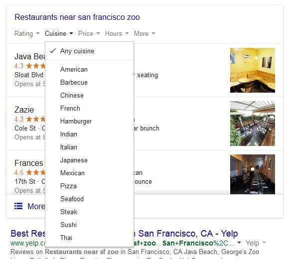 google local restaurant ratings