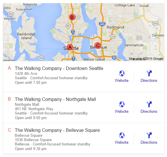 google local with address