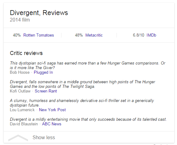 Google Adds Snippets to Movie Review Knowledge Cards