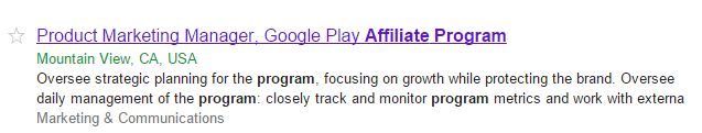 Google Play Affiliate Program Planned & Related Job Listing