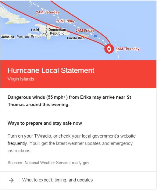 google weather hurricane