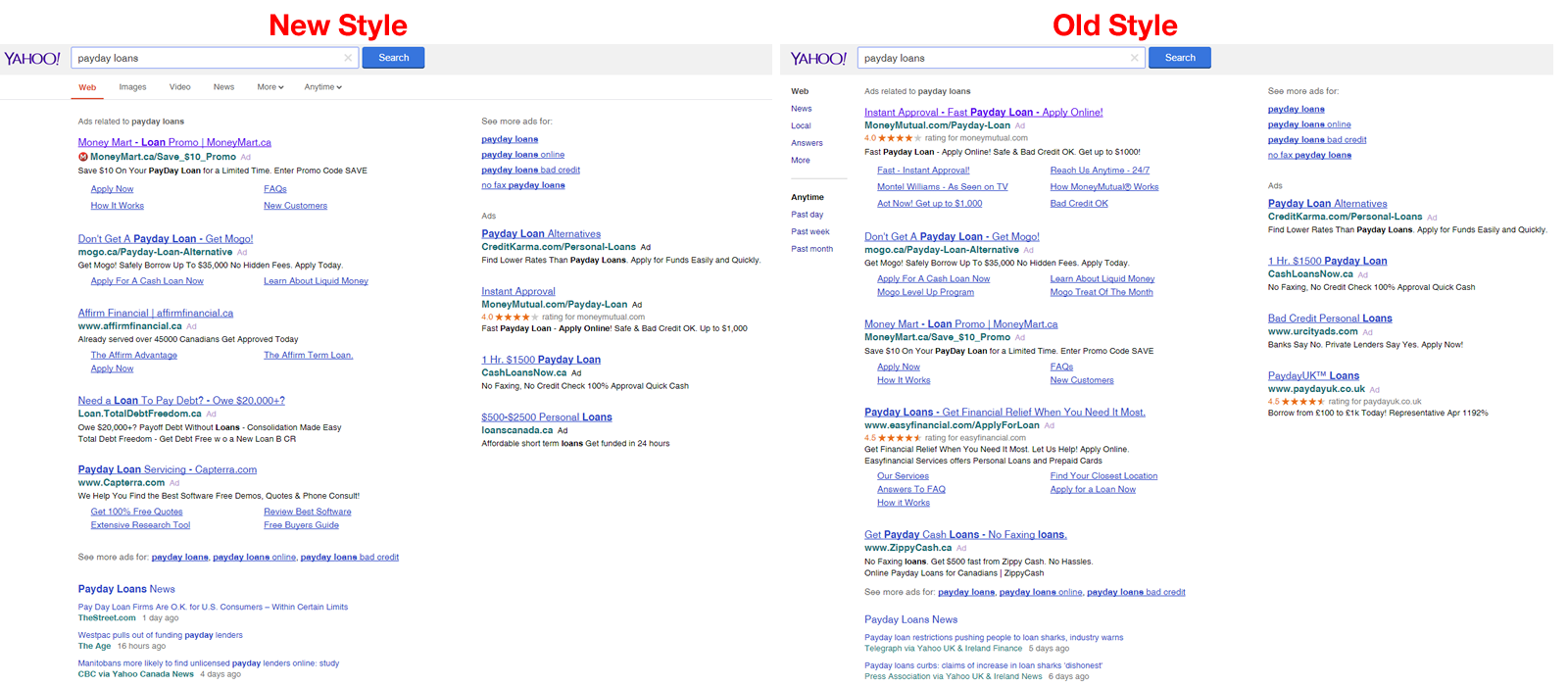 yahoo testing google interface compare