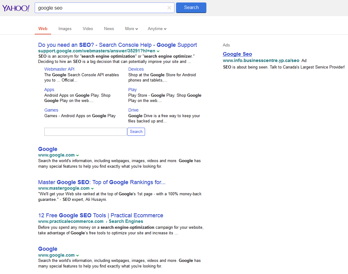 yahoo testing google interface