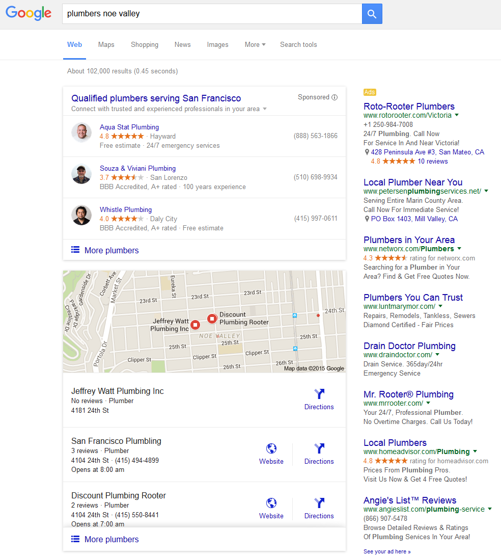 google both home service local pack