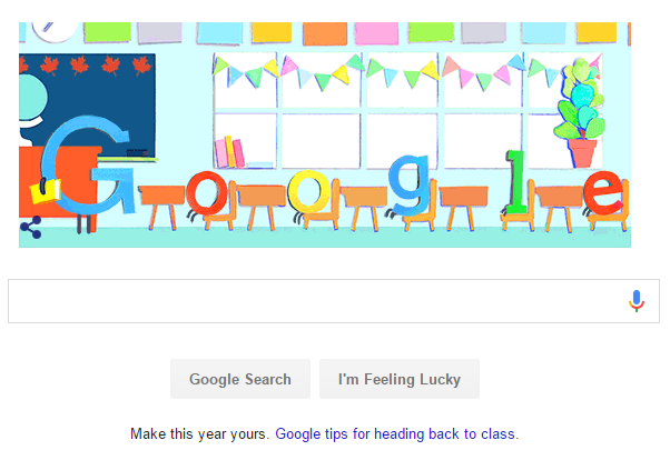 Google Doodle for Canada's First Day of School on Google ca