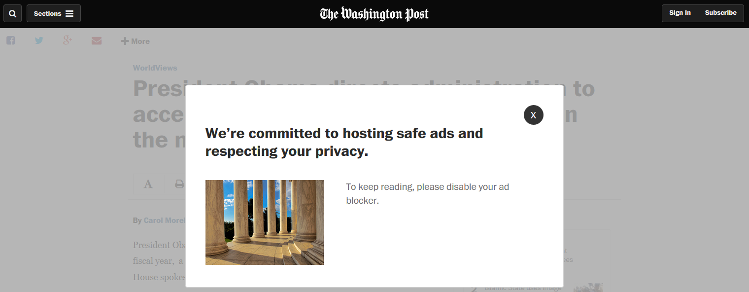 Washington Post Begins Showing Pop-Ups to AdBlock Users