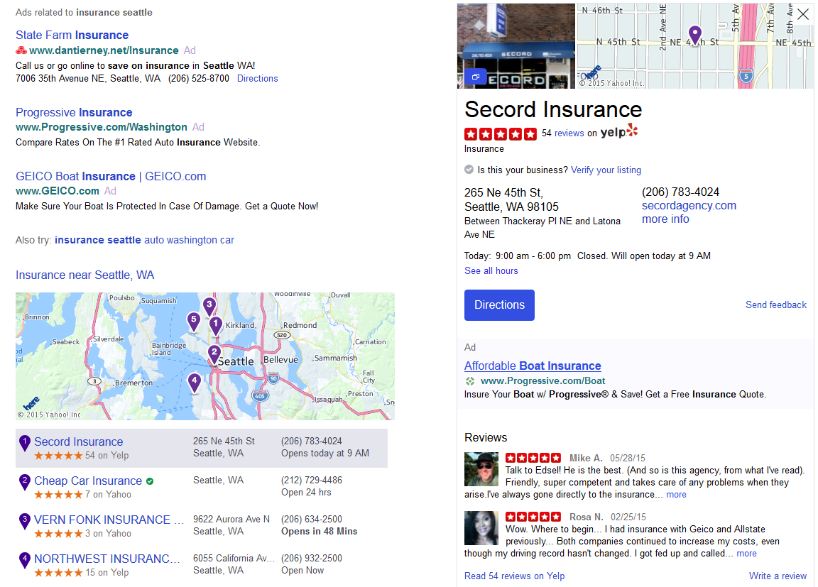 yahoo ads in local knowledge panel
