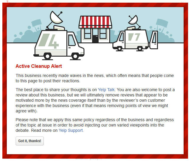 Yelp Adds New Active Cleanup Alerts for Local Businesses in the News