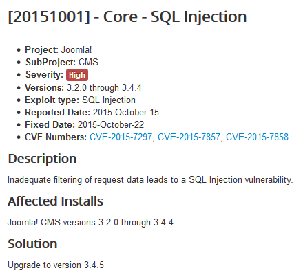 Major Joomla Security Issue, Patch Required to Prevent SQL Injection