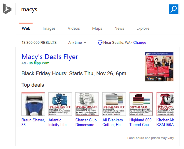 Bing Ads Launches New Black Friday Flyer Ads in Search Results