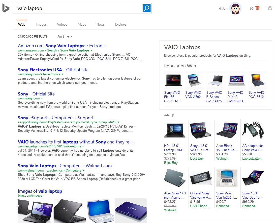 "Bing Displaying ""Popular on Web"" Products in Search Results"