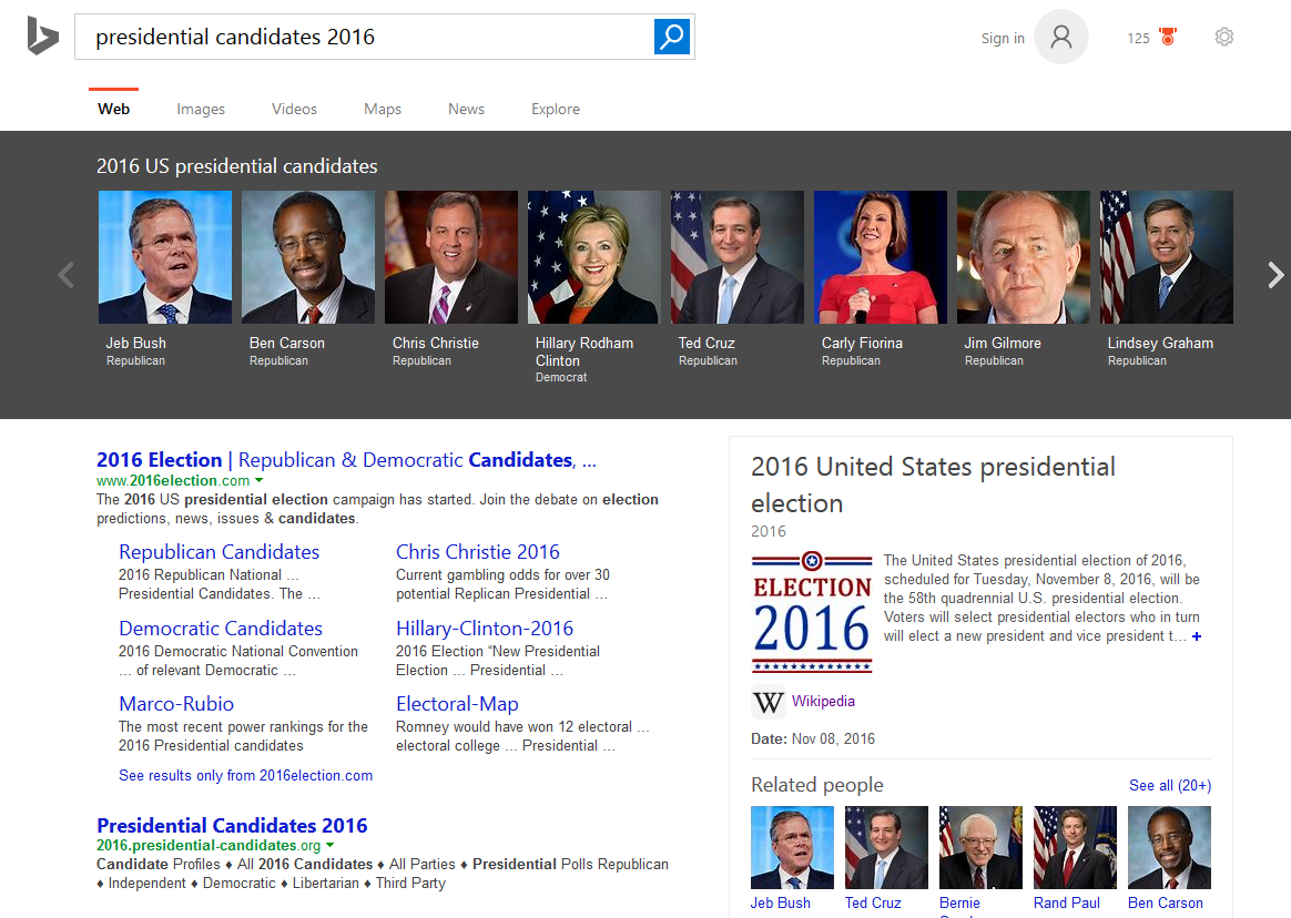 Bing Adds Interactive Search Results for US Presidential Elections
