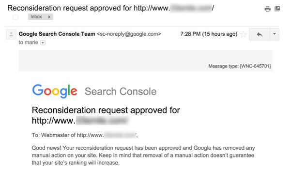 Google Changes Emails for Reconsideration Request Response
