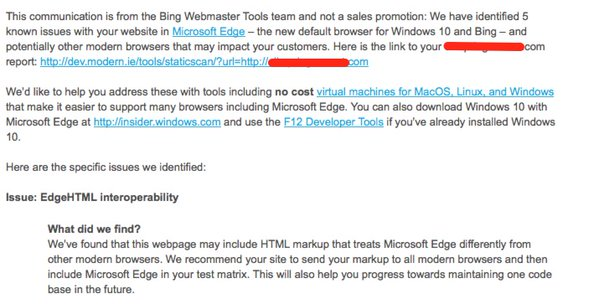Bing Webmaster Tools Warns of Microsoft Edge Compatibility Issues