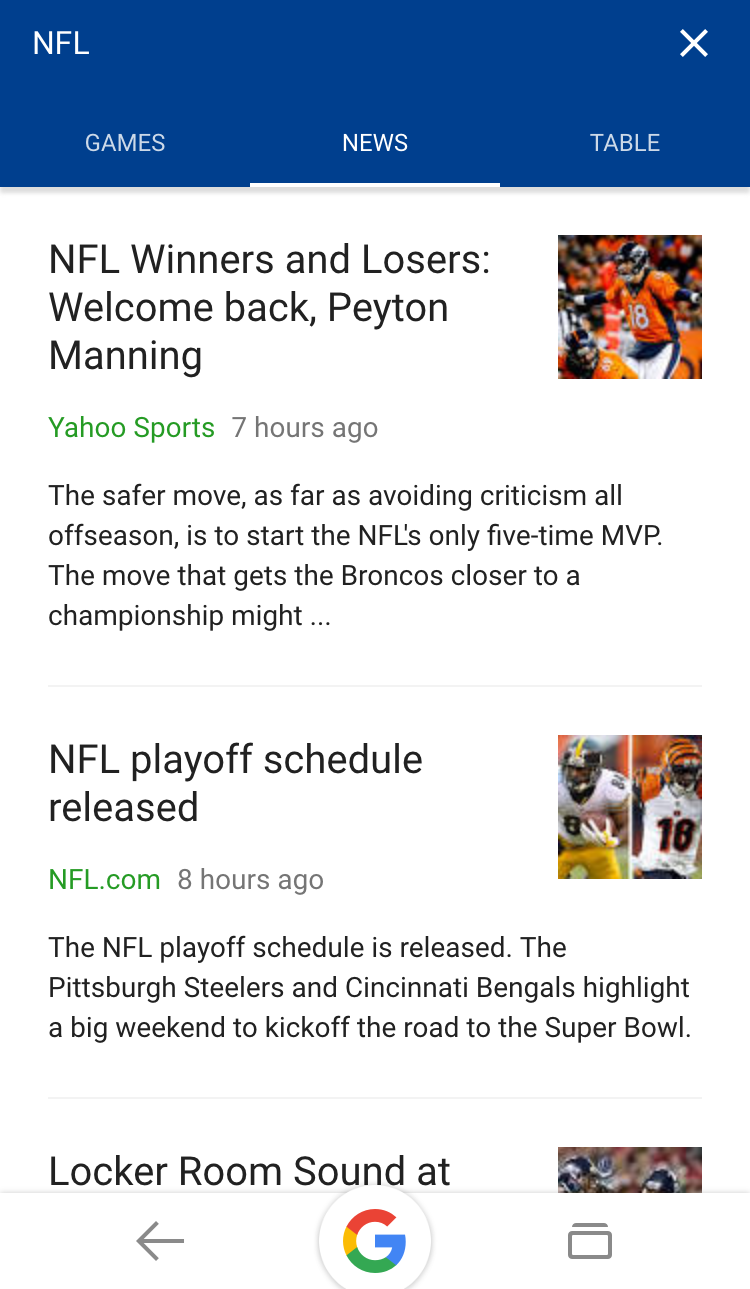 google sports nfl nba today result
