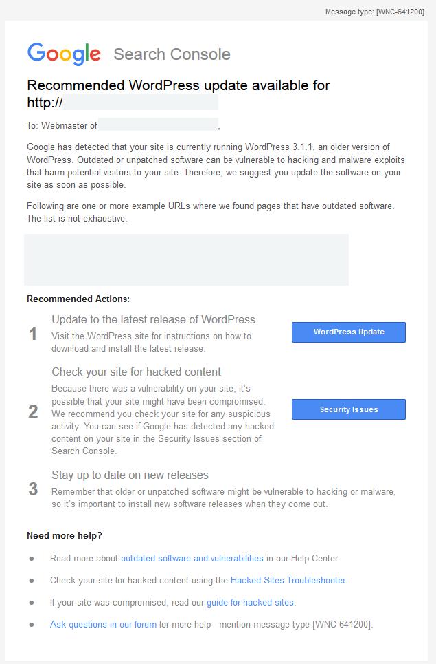 gsc wordpress update