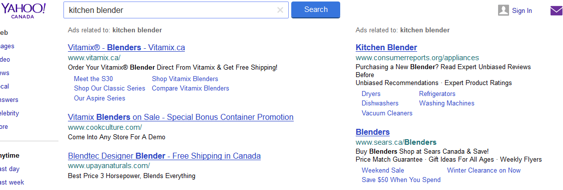 Yahoo Showing Google AdWords Sidebar Ads With Extensions