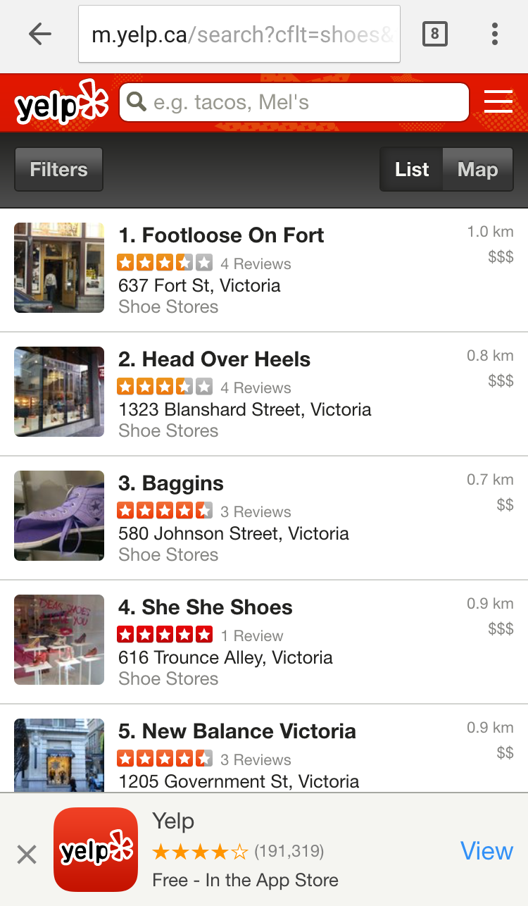 Yelp Using App Interstitial But Keeps Mobile-Friendly Tag