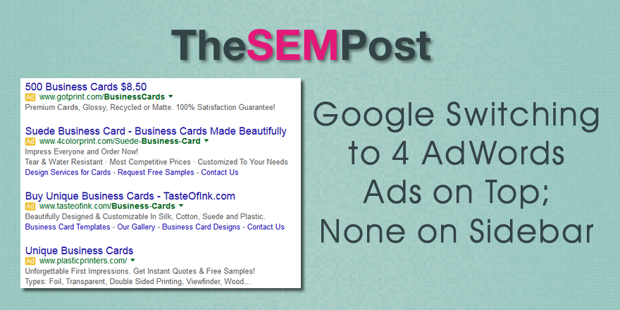 adwords 4 ads no sidebar