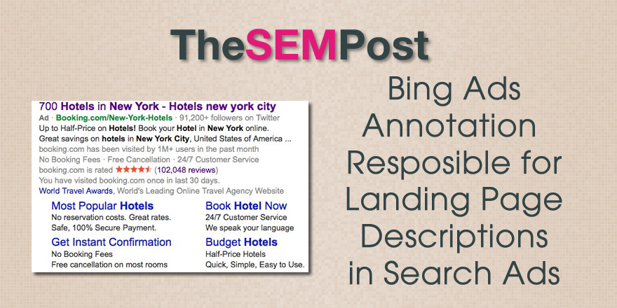 bing ads landing page annotation