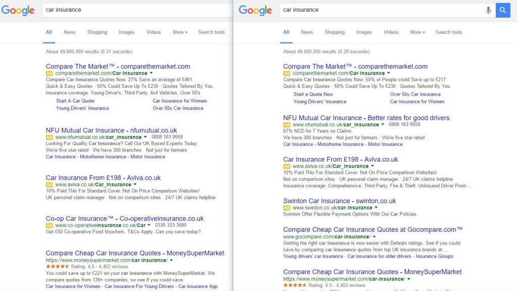 google spacing serps test
