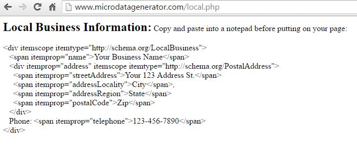 Local Schema markup code