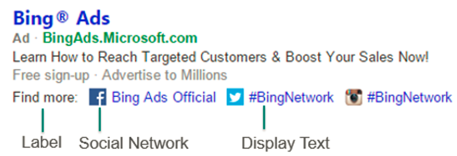 Bing Ads Testing New Social Media Extensions