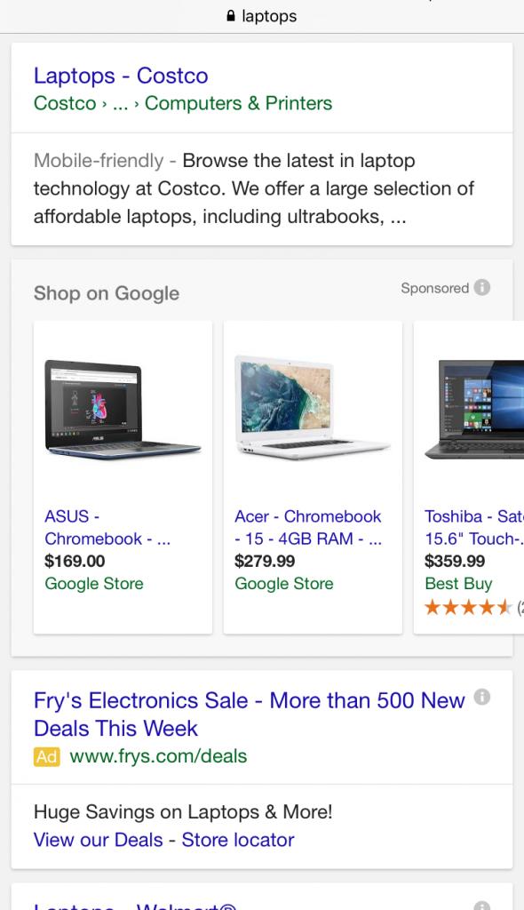google bottom pla ads