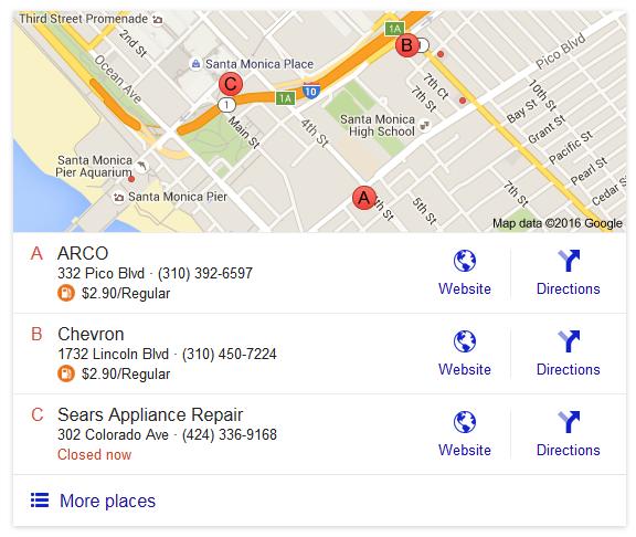 google gas pricing