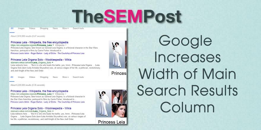 google increases search results width