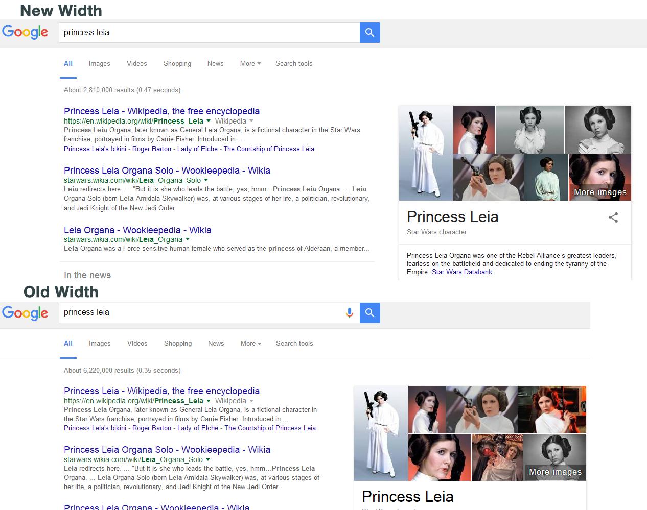 google search results new width comparison