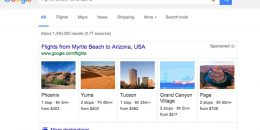 Google Flights Testing Thumbnail Ads in Search