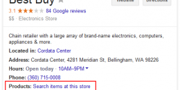 Google Showing Shopping Product Search in Local Knowledge Panel