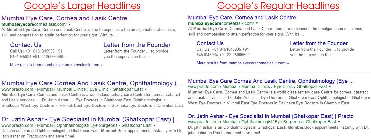 google larger headlines 3