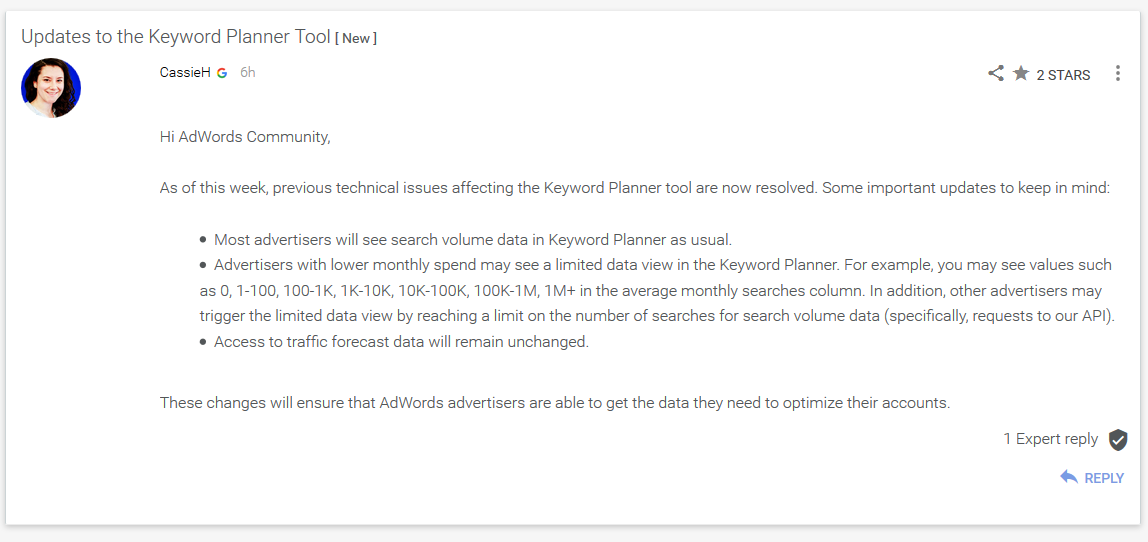 google keyword planner change update