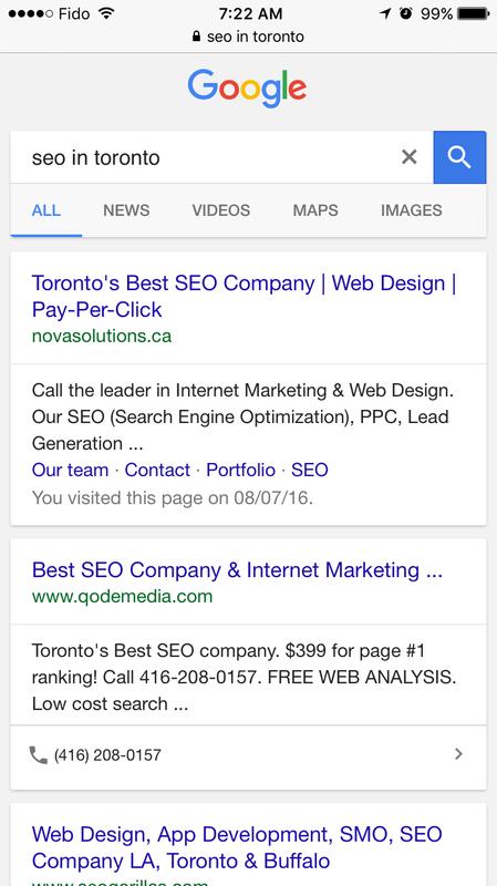 google organic click to call