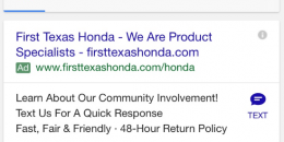 Google AdWords Testing Click to Text Business Option in Mobile Ads