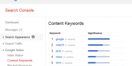 """Google Removing """"Content Keywords"""" from Search Console"""