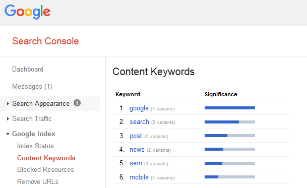 google-content-keywords-removal