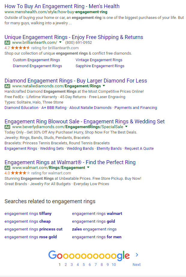 Google Testing 4 AdWords Ads at Bottom of Search Results
