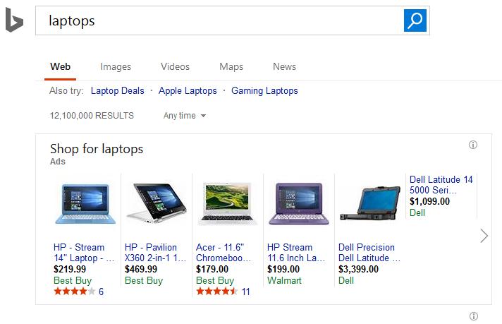 Bing Shopping Karussel