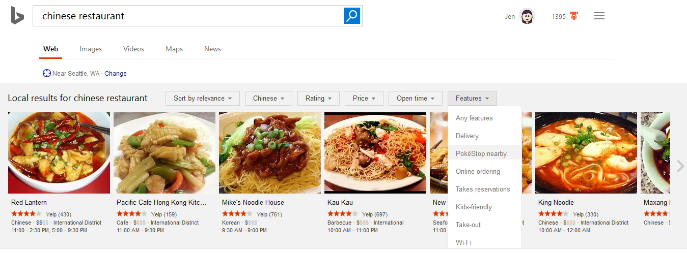 Bing Adds Pokestop Nearby To Restaurant Filtering Options