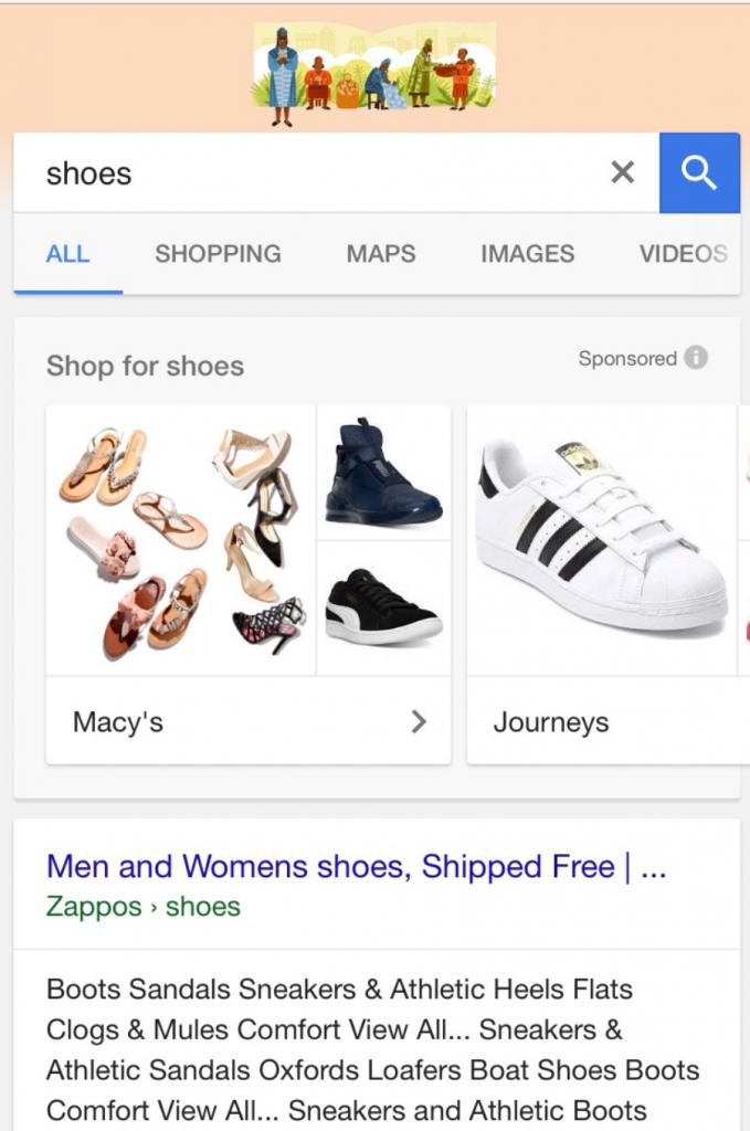 Shopping Anzeigen nach Unternehmen