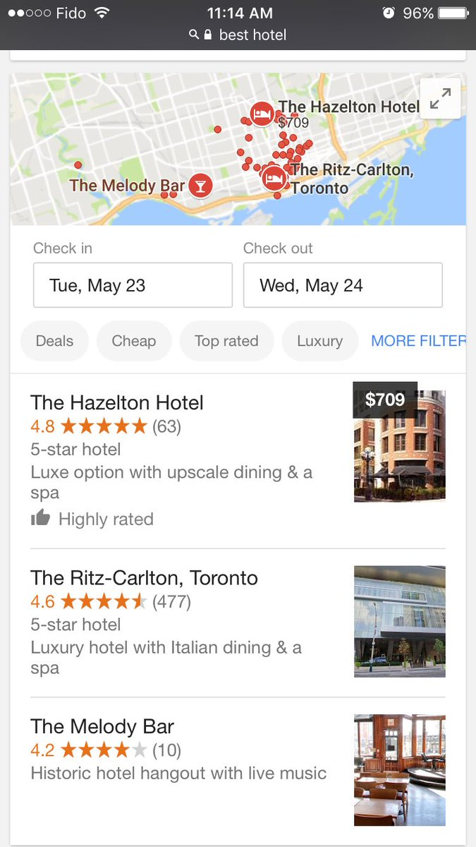 "Google Shows ""Highly Rated"" In Hotel Listings In Search"