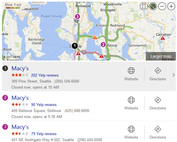 Bing Local Pack Shows Live Traffic Conditions in Search Results