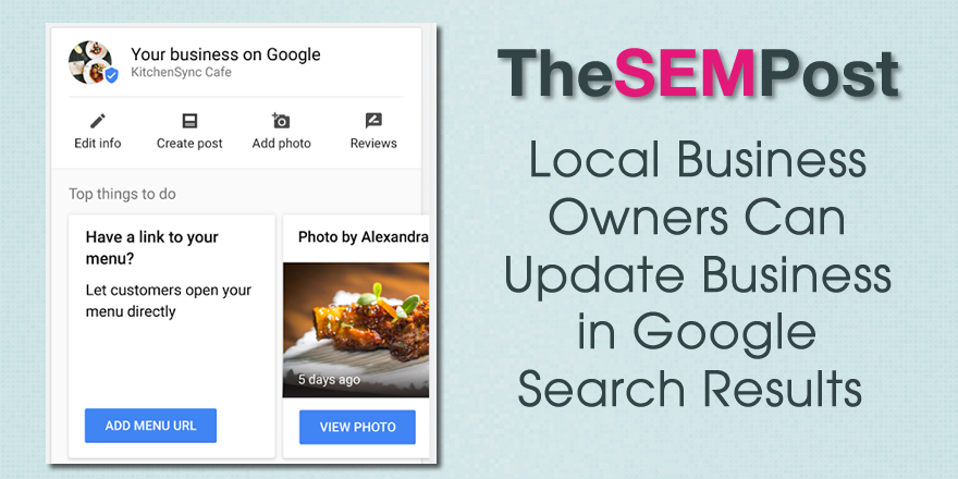 Google Allows Businesses to Manage Local Listing from Search