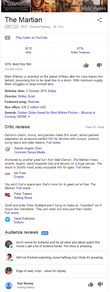 Google Adds Audience Reviews to Movie & TV Show Knowledge Panels