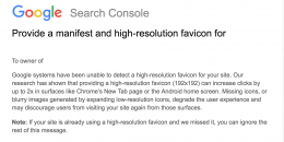 Google Search Console Alerts for Sites Without High-Res Favicons