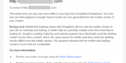 Google Sending Mobile First Indexing Enabled Notices via Google Search Console