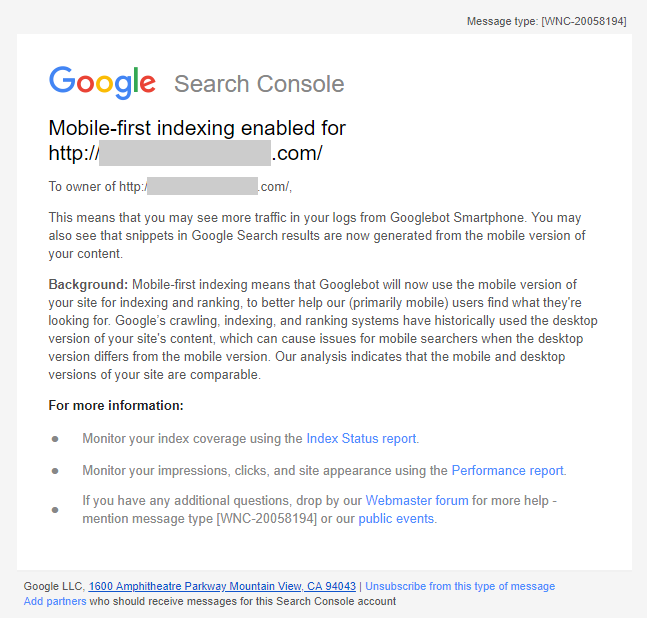 Google Sending Mobile First Indexing Enabled Notices via